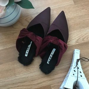 Zara maroon slide on loafer with bow tie
